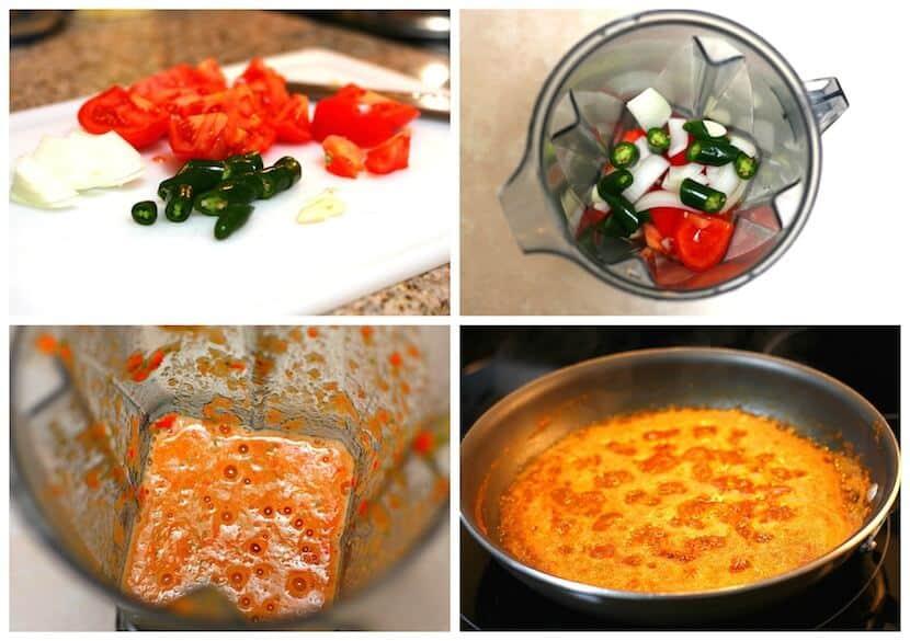 Salsa roja frita, paso a paso instrucciones con imágenes